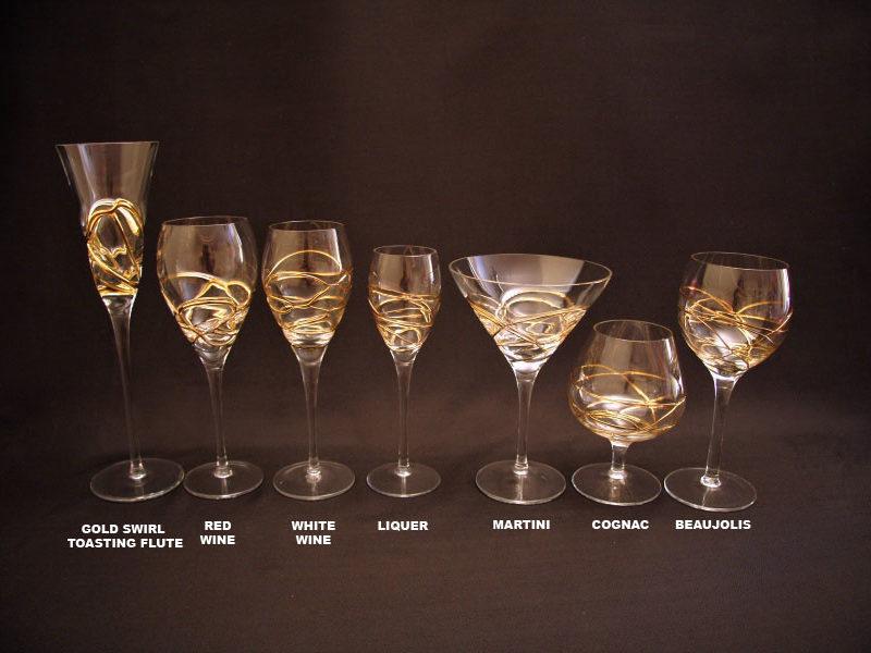 gold swirl toasting flute , red wine , white wine , liquer , martini , cognac , beaujolais